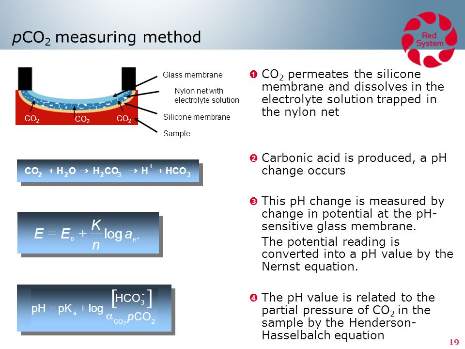 [ ] pCO2 measuring method K E = E + log a n